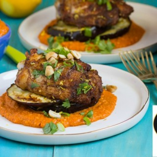Grilled Chicken with Eggplant and Romesco Sauce