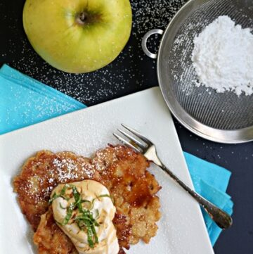 Apple-Spice-Latkes-with-Cardamom-Yogurt-and-Caramel-Sauces