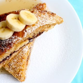 Nutella and Banana Stuffed Cornflake Crusted Challah French Toast